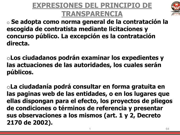 EXPRESIONES DEL PRINCIPIO DE TRANSPARENCIA