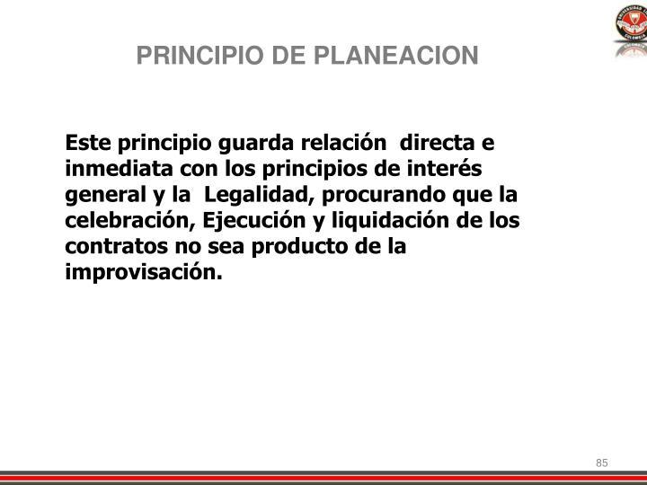 PRINCIPIO DE PLANEACION