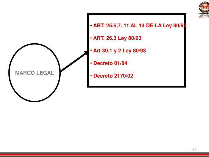 ART. 25.6,7. 11 AL 14 DE LA Ley 80/93