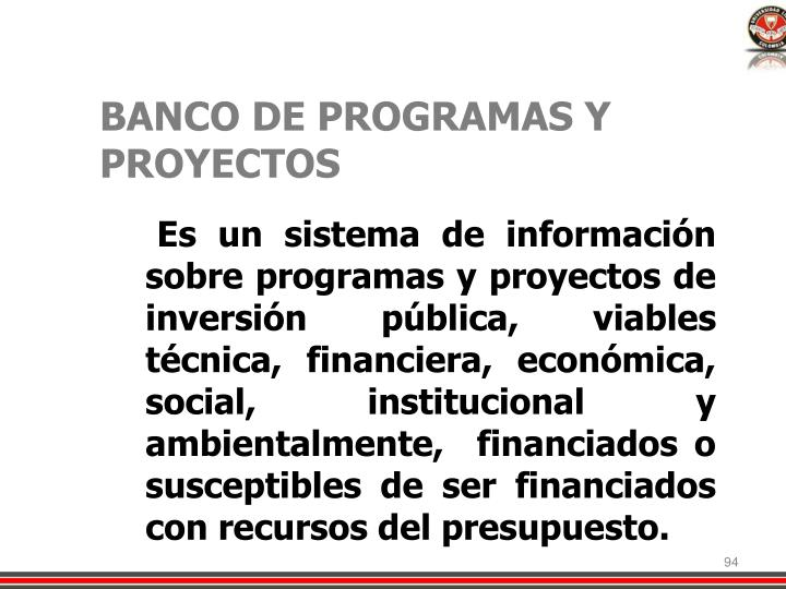 BANCO DE PROGRAMAS Y PROYECTOS