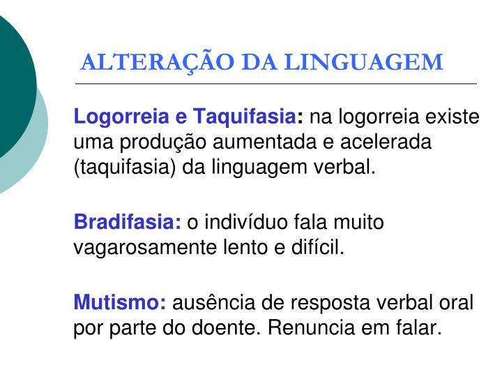 ALTERAÇÃO DA LINGUAGEM