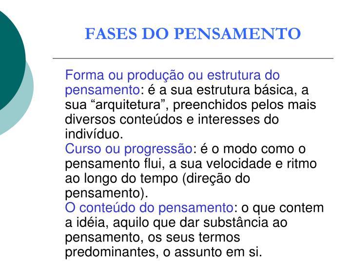 FASES DO PENSAMENTO