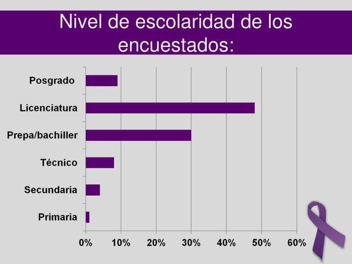 Nivel de escolaridad de los encuestados: