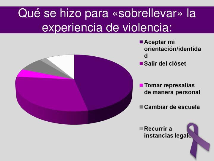 Qué se hizo para «sobrellevar» la experiencia de violencia: