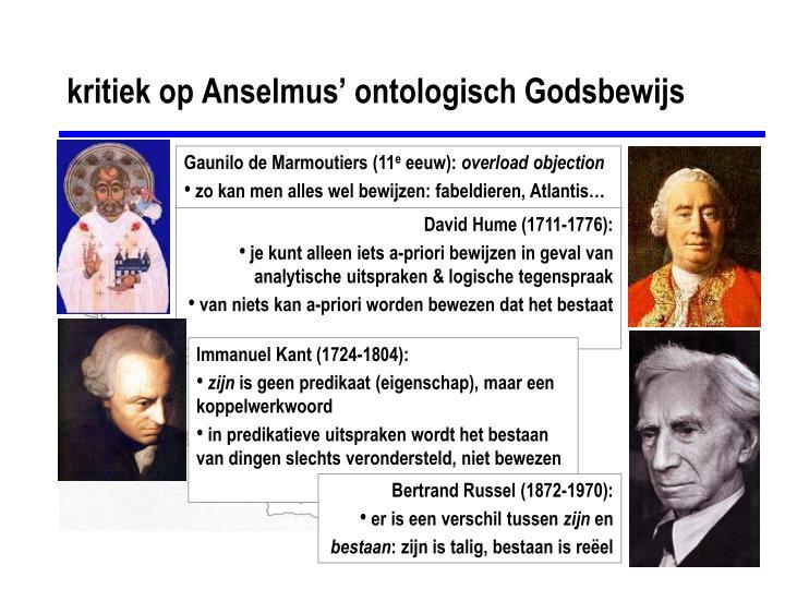 kritiek op Anselmus' ontologisch Godsbewijs