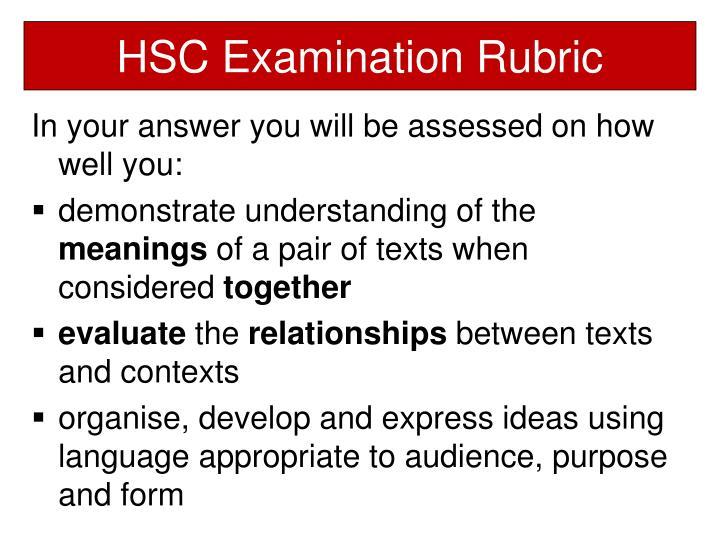 HSC Examination Rubric