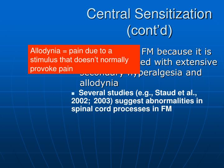 Central Sensitization (cont'd)