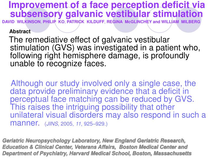 Improvement of a face perception deficit via subsensory galvanic vestibular stimulation