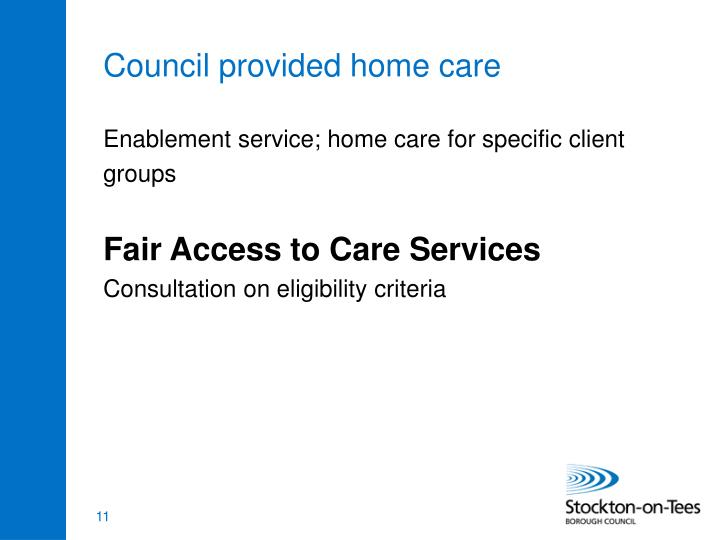 Council provided home care