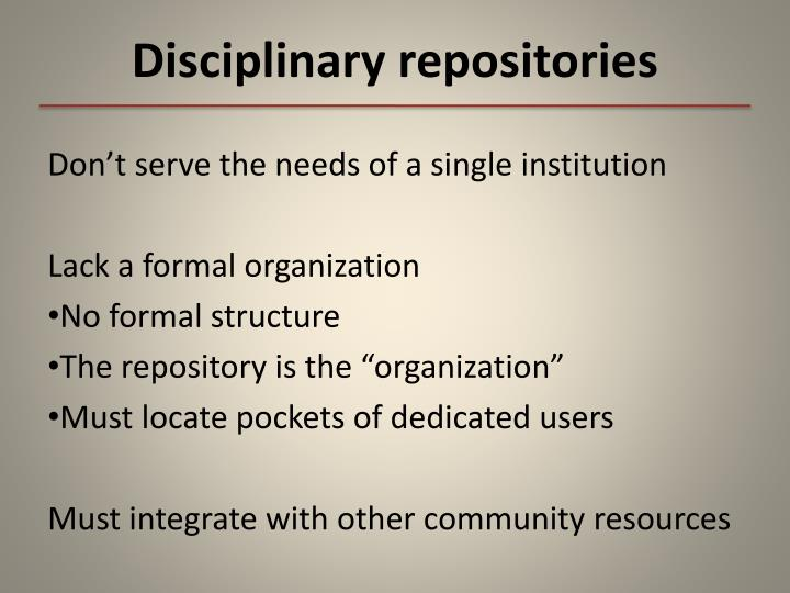 Disciplinary repositories