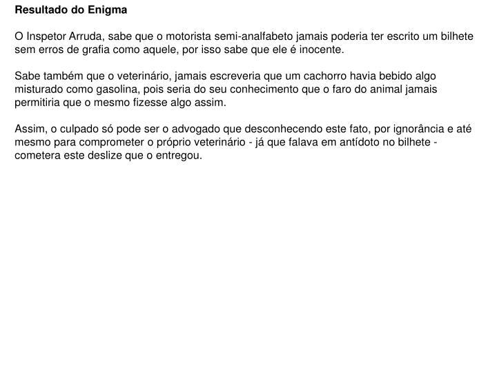 Resultado do Enigma