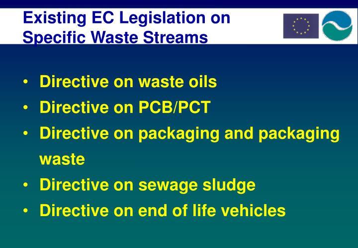 Existing EC Legislation on Specific Waste Streams