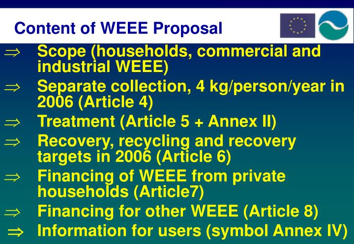 Content of WEEE Proposal
