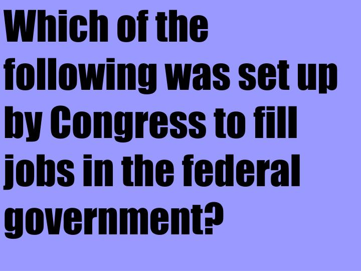 Which of the following was set up by Congress to fill jobs in the federal government?