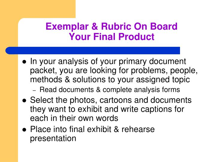 Exemplar & Rubric On Board