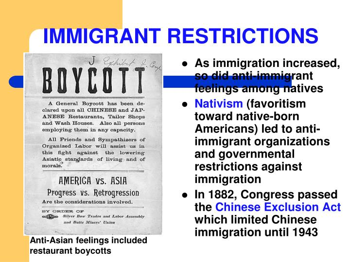 IMMIGRANT RESTRICTIONS