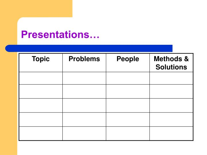 Presentations…