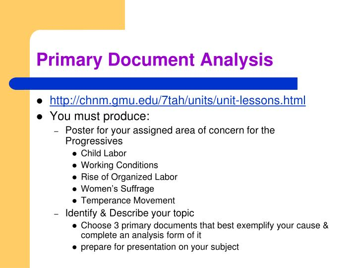 Primary Document Analysis