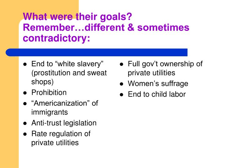 "End to ""white slavery"" (prostitution and sweat shops)"
