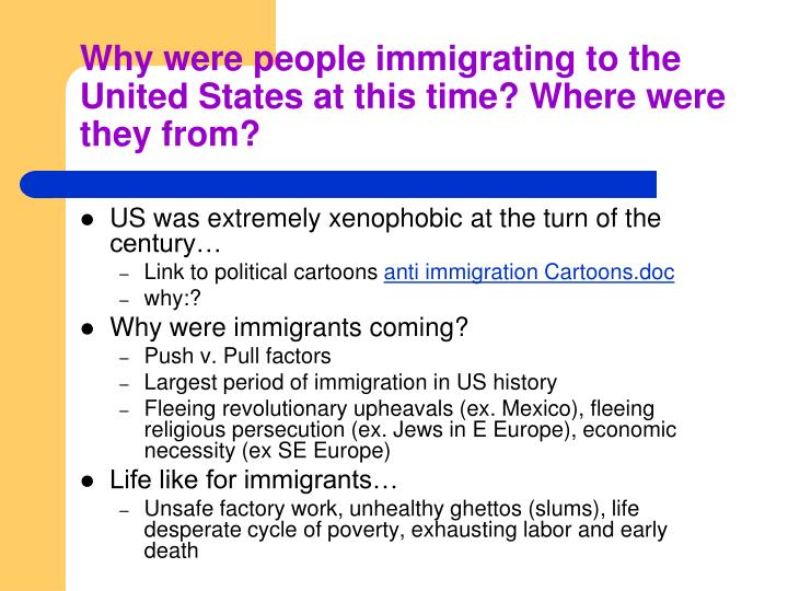 Why were people immigrating to the United States at this time? Where were they from?