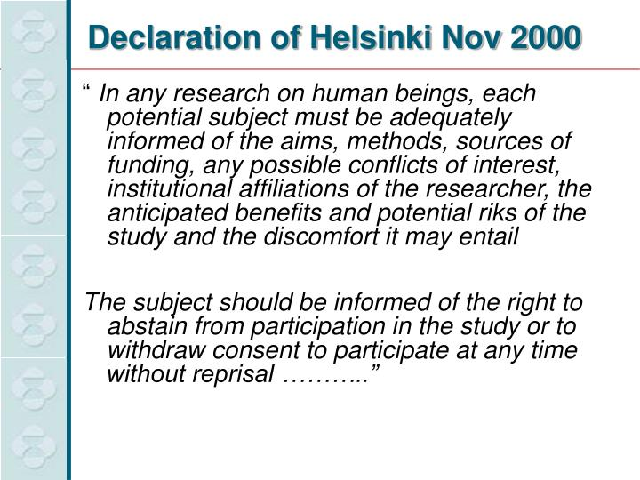Declaration of Helsinki Nov 2000