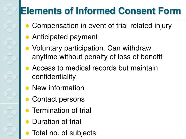 Elements of Informed Consent Form