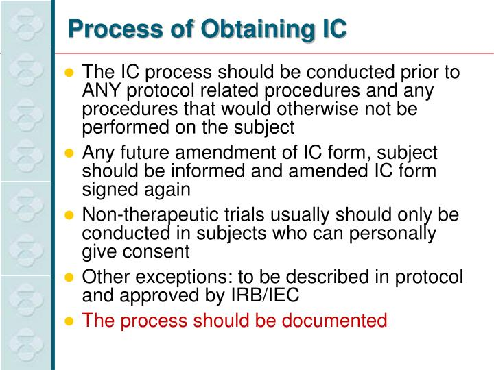 Process of Obtaining IC