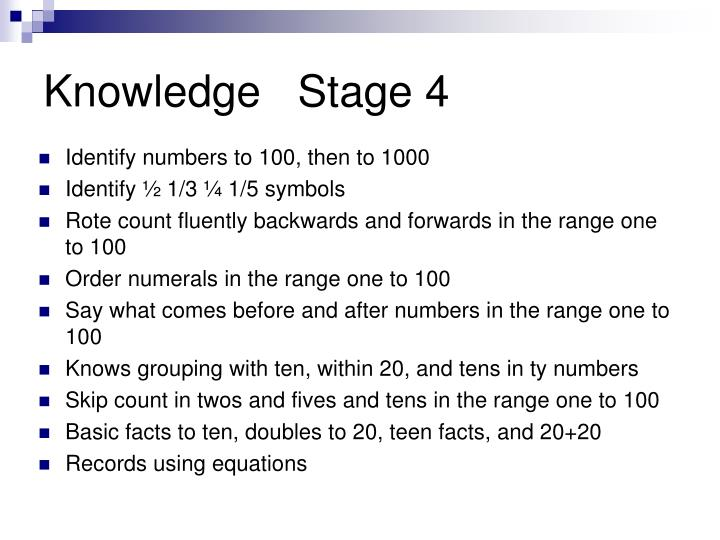 Knowledge   Stage 4