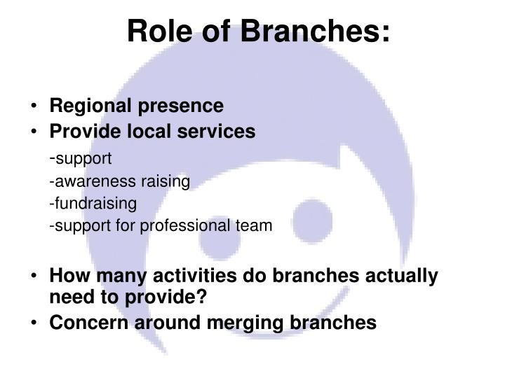 Role of Branches: