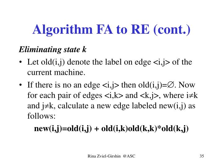 Algorithm FA to RE (cont.)
