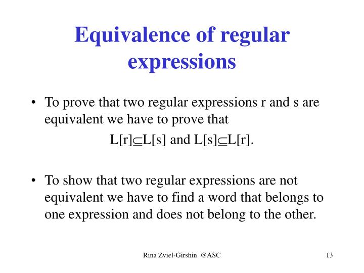 Equivalence of regular expressions