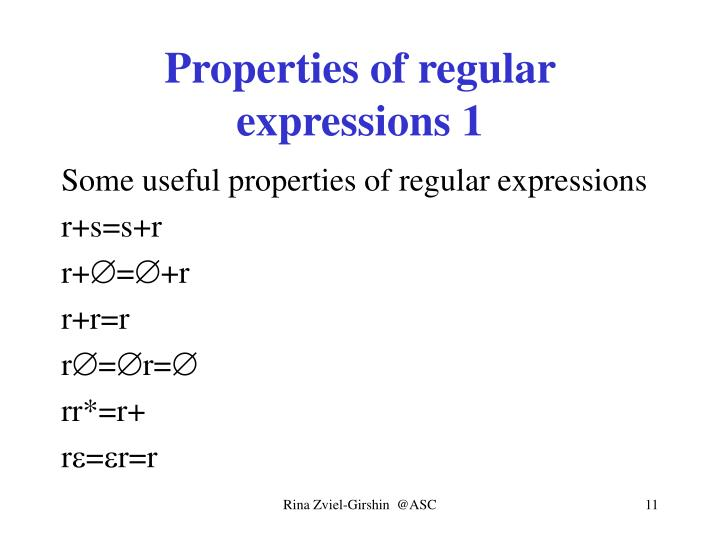 Properties of regular expressions 1