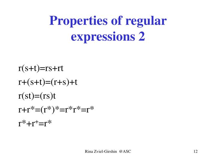 Properties of regular expressions 2