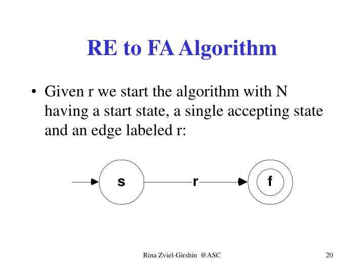RE to FA Algorithm