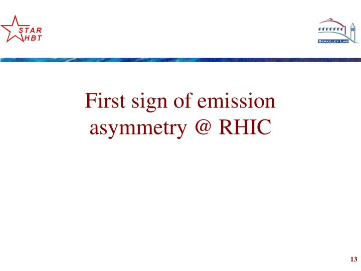 First sign of emission