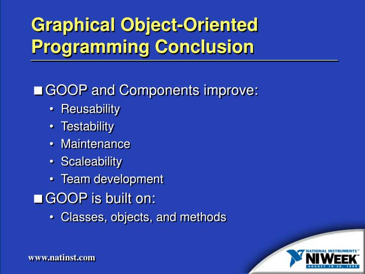 Graphical Object-Oriented Programming Conclusion