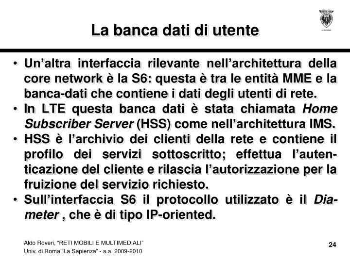 La banca dati di utente