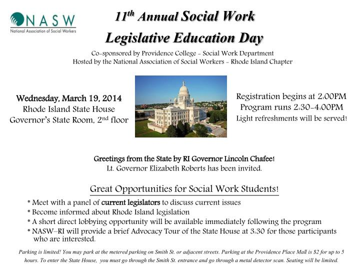 11 th annual social work legislative education day