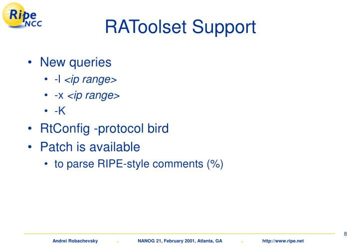 RAToolset Support