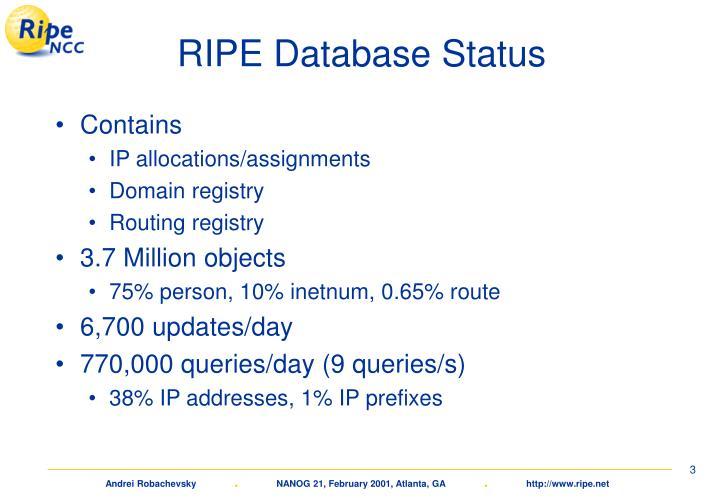 RIPE Database Status