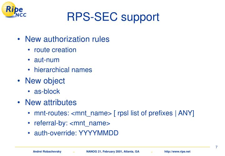 RPS-SEC support
