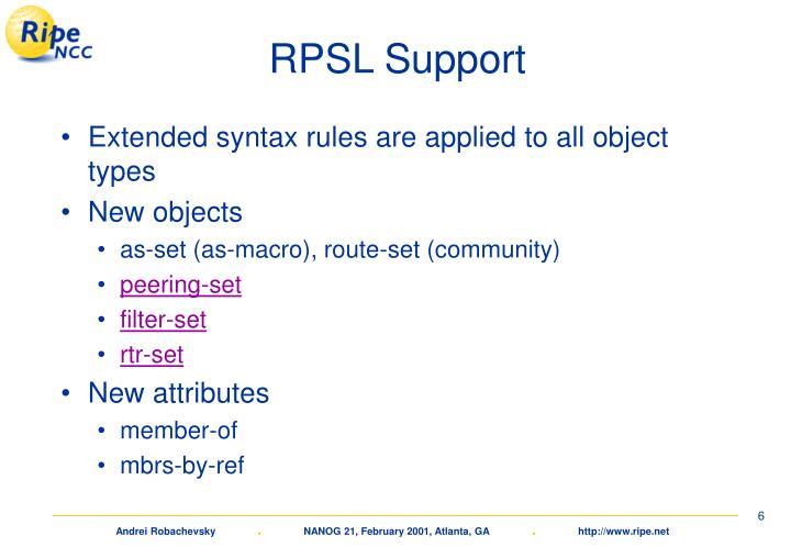 RPSL Support