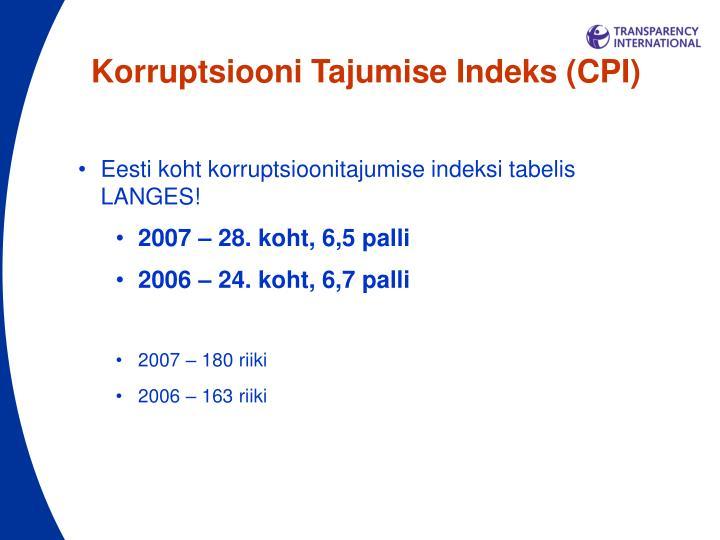 Korruptsiooni Tajumise Indeks (CPI)