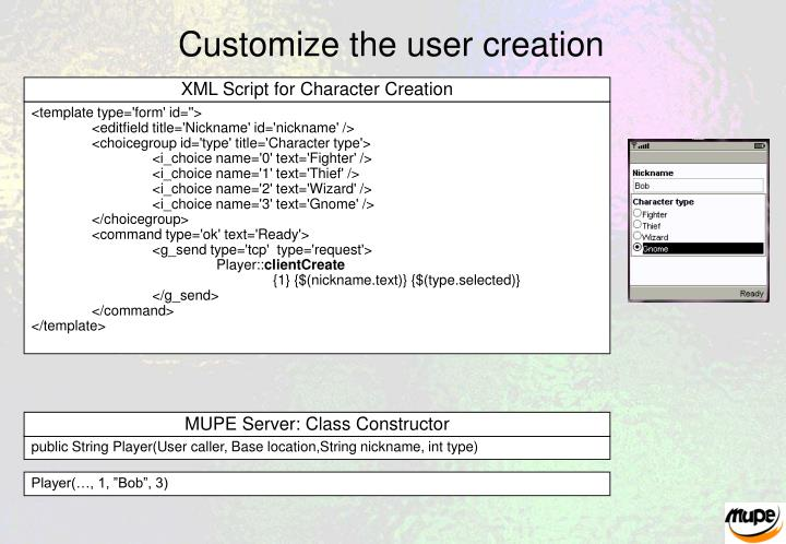 Customize the user creation