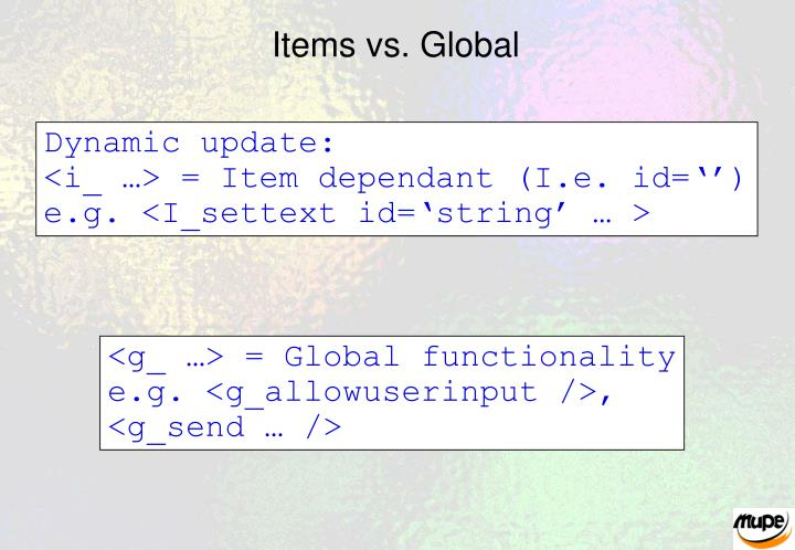 Items vs. Global