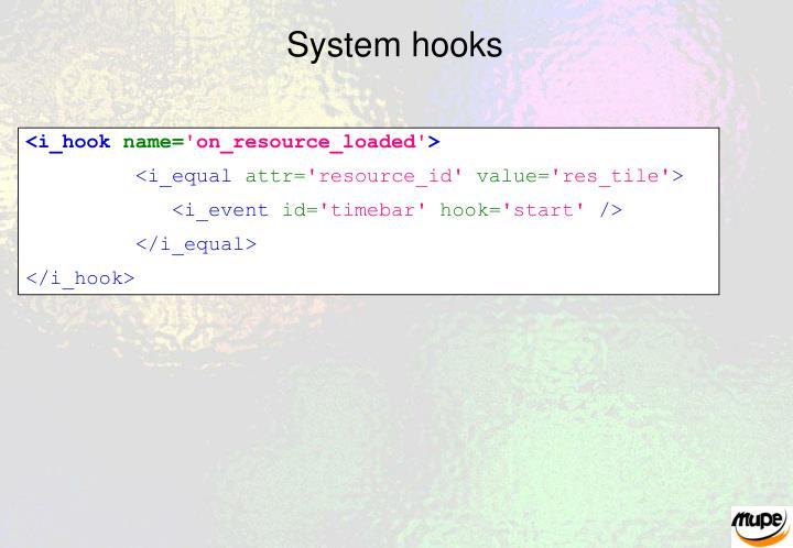 System hooks