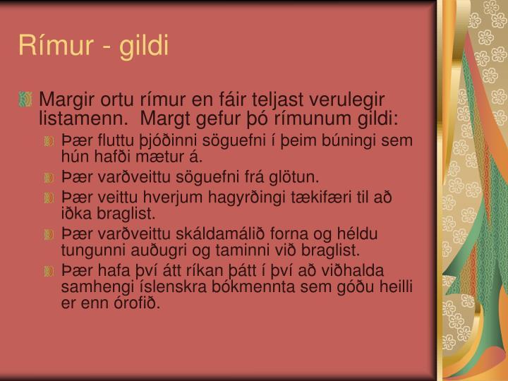 Rímur - gildi