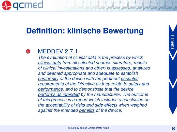 Definition: klinische Bewertung