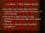 le futur the future tense