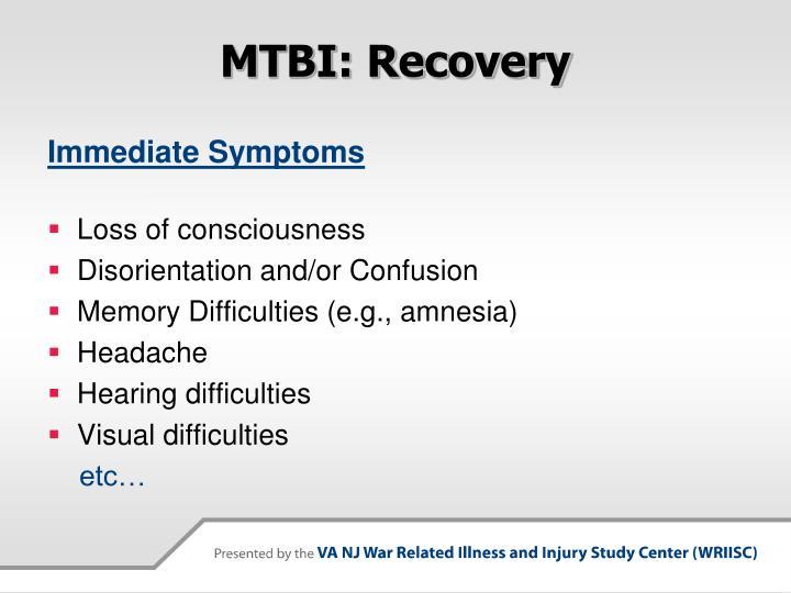 MTBI: Recovery